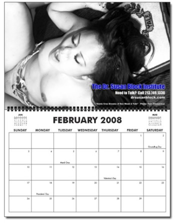 February celebrates Sex Week at Yale with Annie Cruz on YALE pillow Dr. Suzys Speakeasy 2008 Calendar