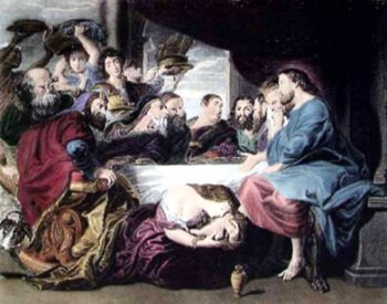 Mary Magdalene kisses Jesus Feet Surrounded by Jealous Apostles .. Painting by Rubens