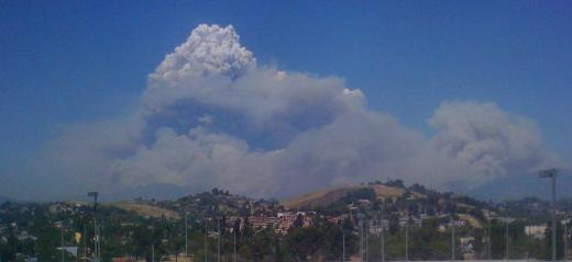 Apocalyptic Mushroom Cloud rising up from the Angelus National Forest Fire during Max's bypass   Photo: Suzy