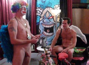 Two Great Gods, Hermes and Eros, relax around The Clown . Photo: David Littlefield