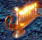 What? A Menorah shaped like an Arabian Magic Lantern? Could this be a merging of cultures? A sign of peace between Muslims and Jews?.