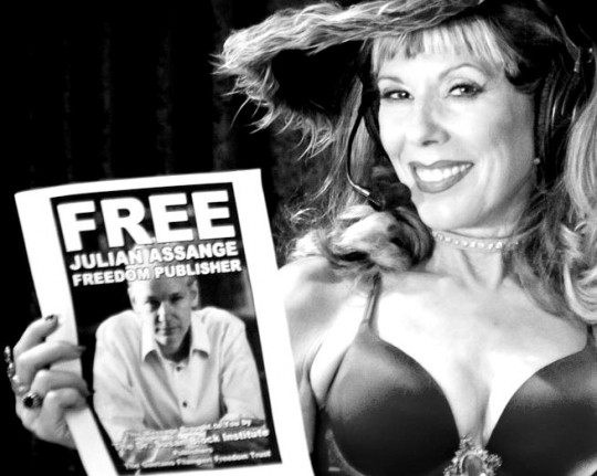 Free Julian Assange! on The Dr. Susan Block Show.  Photo: Juxlii