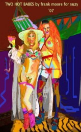 "Frank Moores digital painting ""Two Hot Babes"" is featured in DOMMES & HOLLIE"