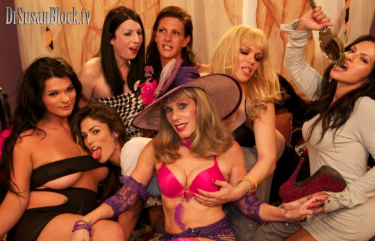The RAPTURE on RadioSUZY1~ Rising Up to Heaven with Some of This World's Hottest SHEMALES:  Britney Markham, Domino Presley, Aly Sinclair, Morgan Bailey, Jesse Flores and TS Foxxy on The Dr. Susan Block Show.  Photo: Mike C
