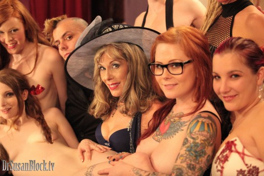 With Judy Luck, Ela Darling, Zak Smith Sabbath, Misti Dawn and Katie Kinns (torsos of Malaika Millions & Tonya Kay above). Photo: Paradox23