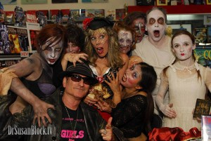 Among the zombies with Corpsy at Melt-Down Comics. Photo: Andy Martin