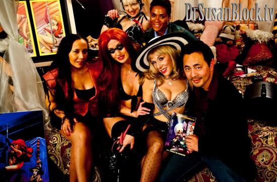 Amina Noir, Angela Sommers as Stripperella, Dr. Suzy, Anthony Winn, Tasia Sutor, AfroDisiac & The Sybian. Photo: JuxLii
