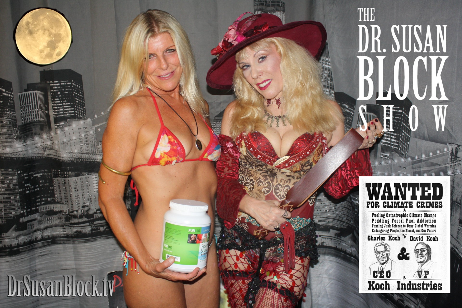 """June Honey Moon, Cici Cummings, Dr. Suzy with JuxLeather """"belt"""" and the Koch Brothers.  Main Photo: Gonzo Bonobo"""