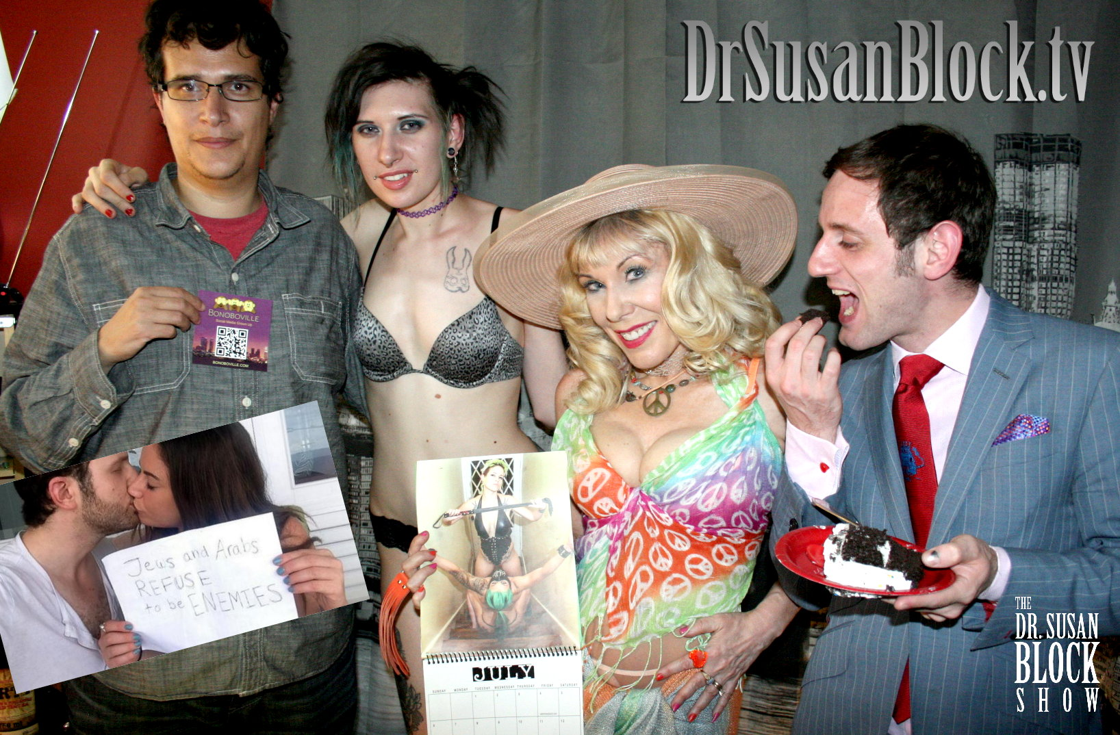 #JewsAndArabsRefuseToBeEnemies hashtag creators Sulome Anderson and BF, Master D holding Bonoboville card, Shadow, Dr. Suzy with A Buttload O' Months, Luzer Twersky with birthday cake. Photo: L'Erotique