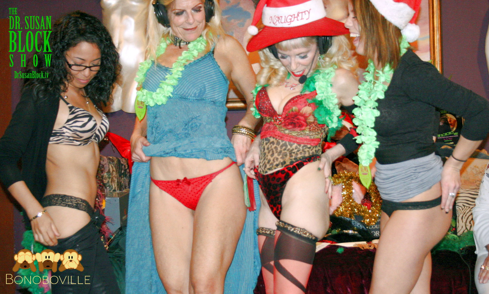 Goddess Maya, Chelsea Demoiselle, Dr. Suzy & Haley Sweet do the Panty Boy Birthday Salute.  Photo: L'Erotique