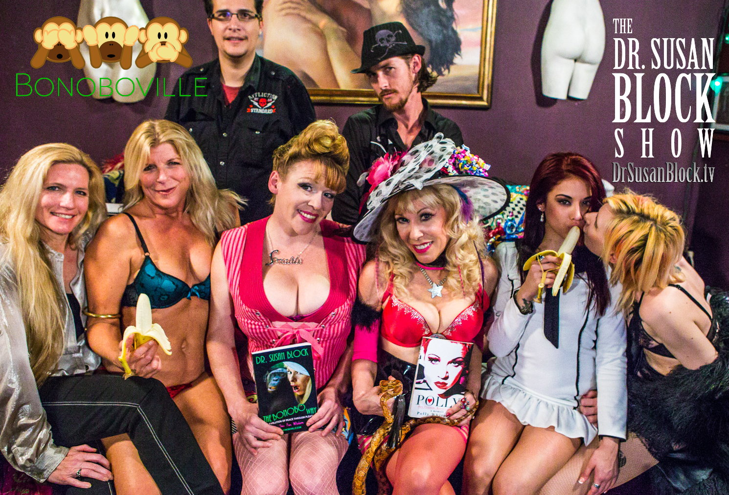 Tammie Parrott, Chelsea Bonobo,  Polly Superstar, Dr. Susan Block with Snake Eve, Onyx Muse, Shadow Cumbie. Row 2: Master D, Dark Phoenix