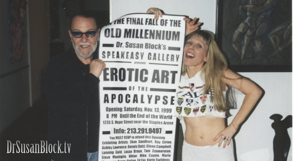 "Lasse Braun and Dr. Susan Block getting ready for the ""Erotic Art of the Apocalypse"" opening at the Speakeasy Gallery in 1999."
