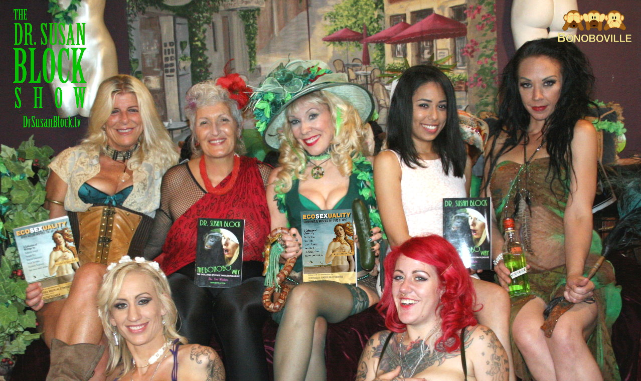 ECOSEXUALITY launch on DrSuzy.Tv: Chelsea Demoiselle, Dr. SerenaGaia Anderlini D'Onofrio, Dr. Susan Block, Maya Goddess, Biz Bonobo. Row 2: Zoey Portland, Crystal Green. Photo: L'Erotique