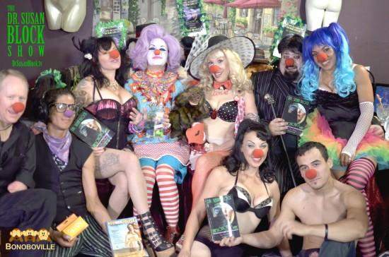 Carnal Carnival on DrSuzy.Tv: One-armed Joe Adams, Del Rey juggling Ecosexuality & Glyde America condoms,  Biz Bonobo, Hollywood Jakewith The Bonobo Way, Row 2: Josi Kat, Clownalyn Monroe with Agwa Coca Leaf Liqueur, Dr. Susan Block, Dark Mark, Aaliyah Corsets. Photo: Kevin Faircourt