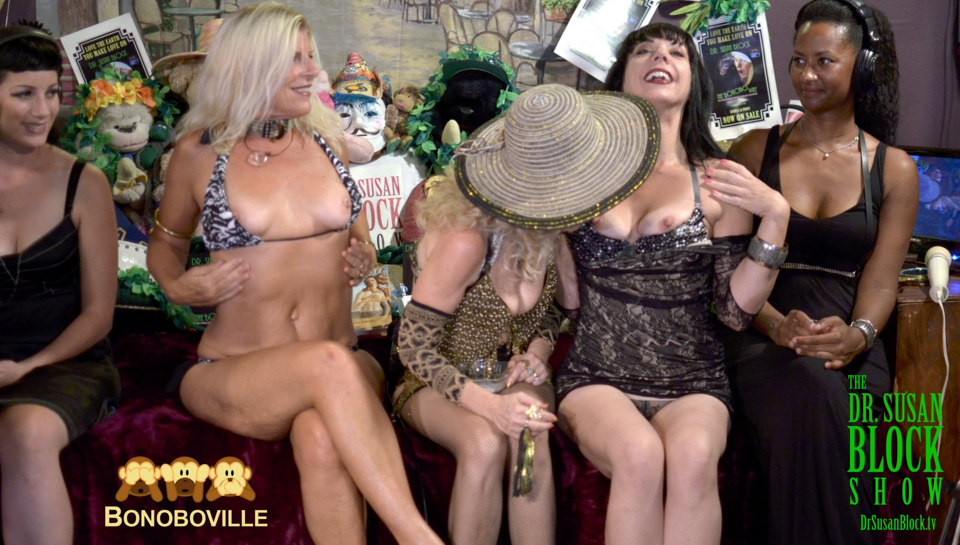 Chelsea and Biz #FreetheNipple for Bonoboville Communion as our guests observe. Photo: Kevin Faircourt
