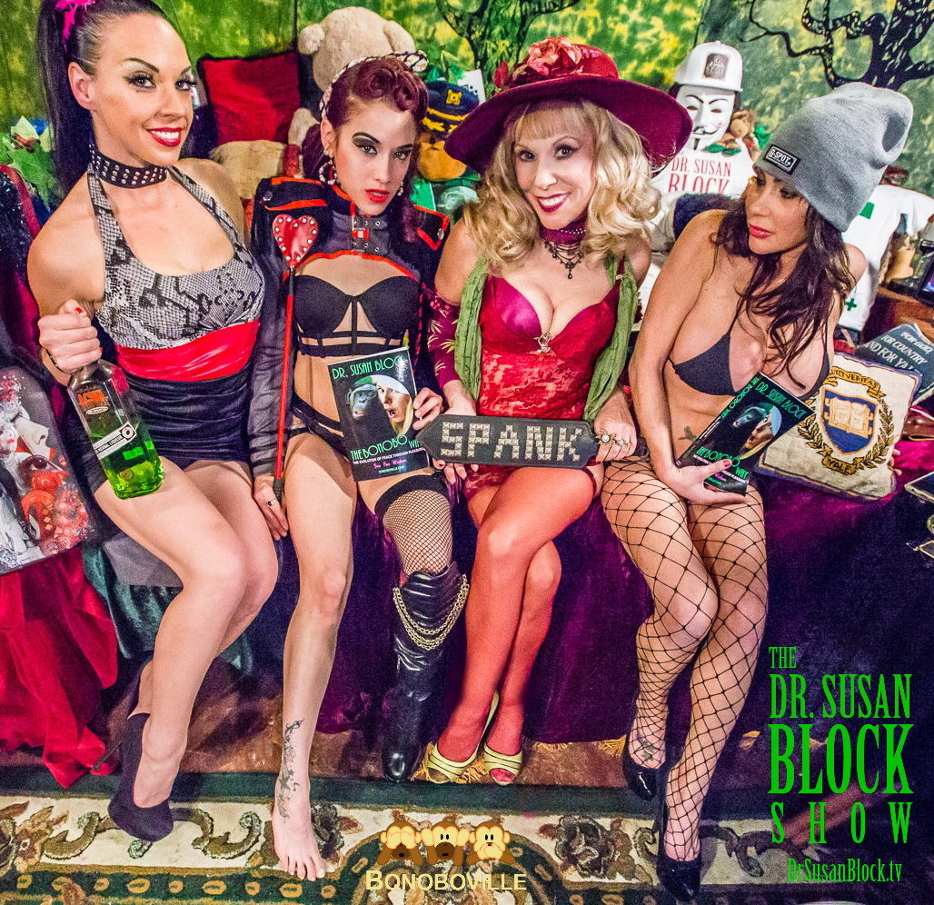 Spanksgiving in Bonoboville with Biz Bonobo with Agwa Coca Leaf Liqueur, Onyx Muse with The Bonobo Way, Dr. Susan Block & Dayton Rains in G-Spot Brand cap. Photo: Jux Lii