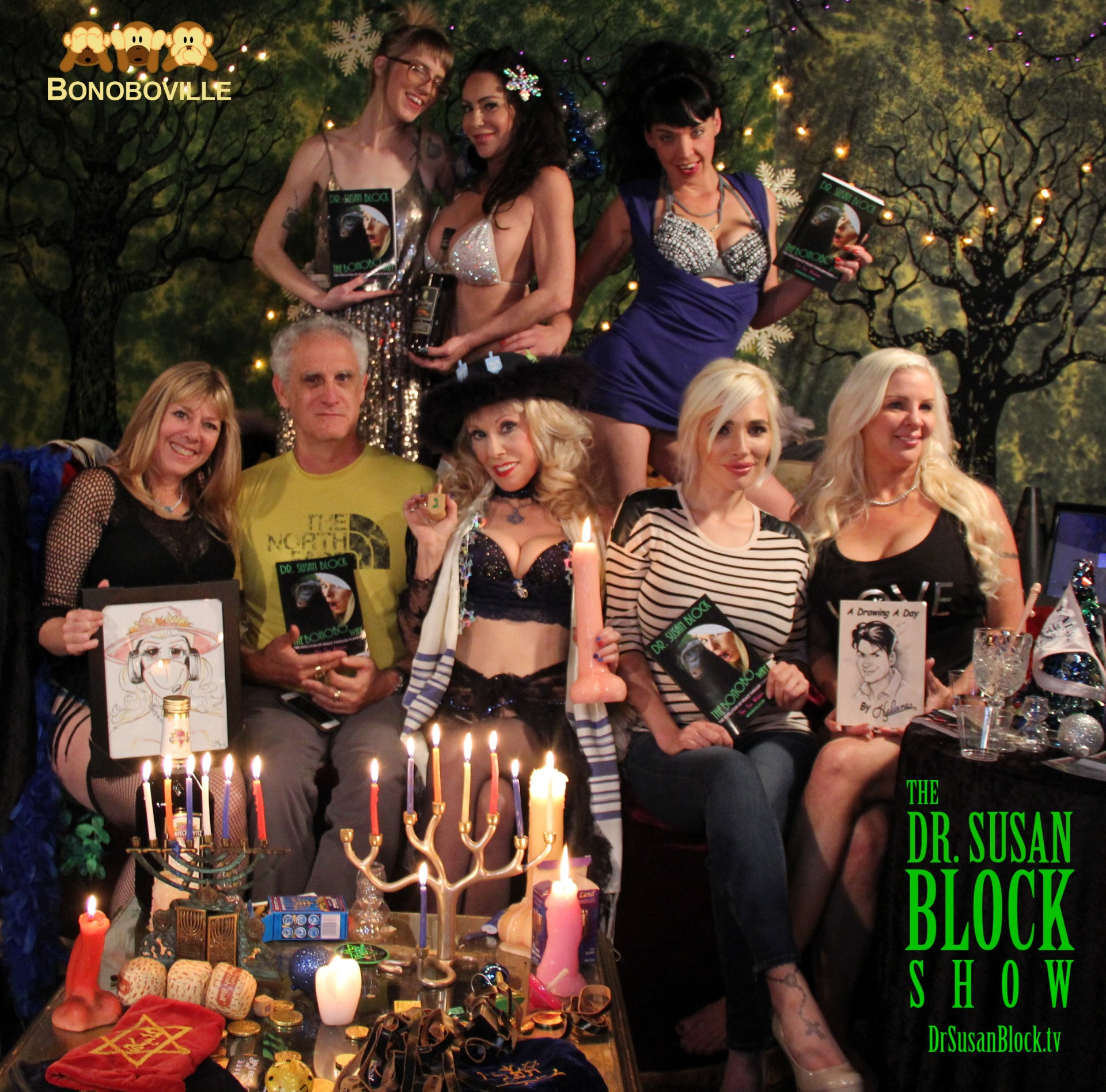 Hanukkah in Bonoboville: Helane, Ross Jeffries, Dr. Susan Block, Kendra Jade Rossi with The Bonobo Way, Veronica Vaughn with A Drawing a Day. Row 2: Ono Bo, Dayton Rains with Ron de Jeremy Rum, Biz Bonobo. Photo: Unscene Abe