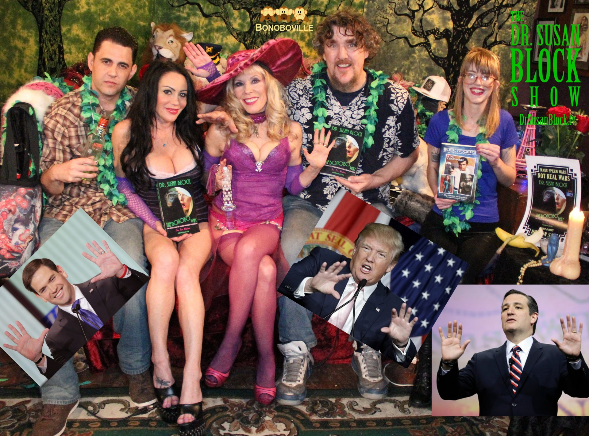 Little Marco, Trumpty Dumphty & Creepy Ted show their hands in Bonoboville (Gonzo, Dayton, Dr. Suzy with Buck Angel glass dildo,, Pat Jankiewicz, Ono Bo. Photo: Cavie