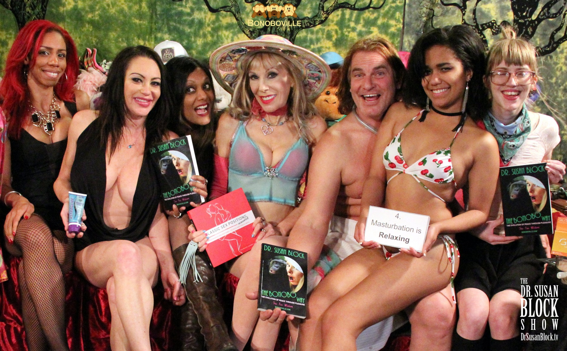 Bambi, Dayton Rains, Moushumi, Dr. Susan Block, Evan Stone, Loni Legend, Ono Bo. Photo: Unscene Abe