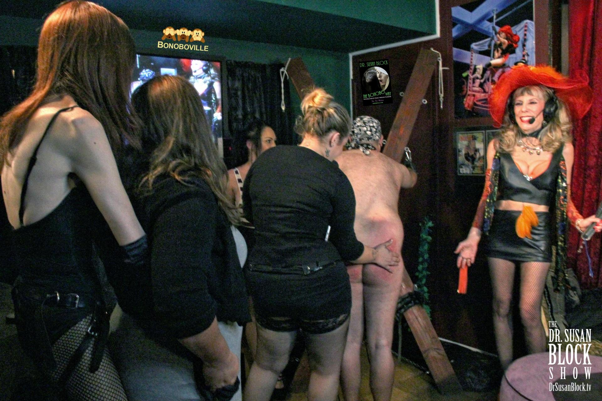 Sanctuary FemDoms line up to birthday-spank Jack Nice. Photo: Ono Bo