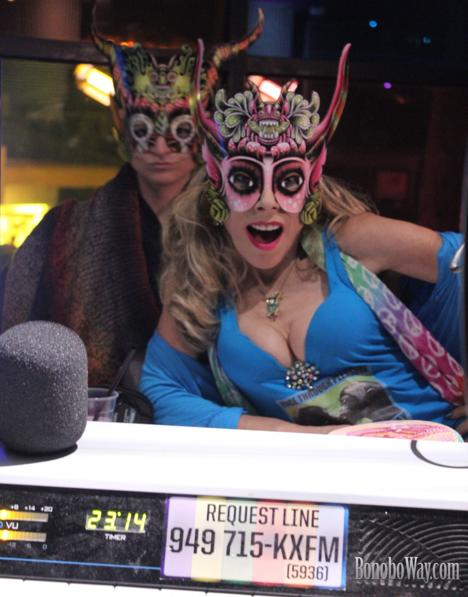 Agwa Masquerade at KX 93.5. Photo: Sarah Bella