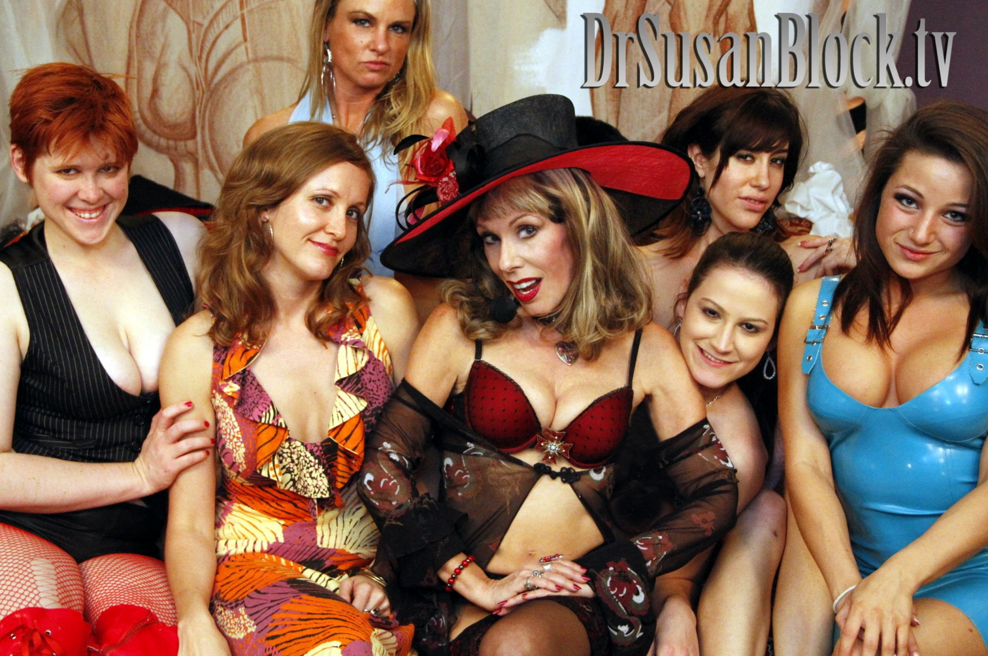 "Lily Cade, Dr. Chauntelle, Amanda Blow, Dr. Susan Block, Addie Juniper, Sasha Sweet, Charity Bangs in ""Masturbation Education"" on DrSuzy.Tv"