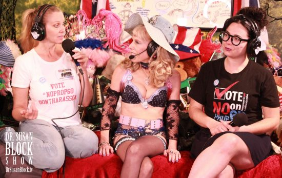 Julia Ann & Siouxsie Q talk #NoProp60 on DrSuzy.Tv. Photo: Sarah Bella