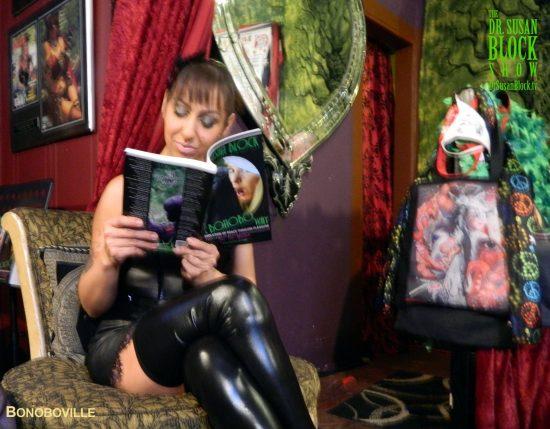 Goddess Godiva studies before her kink test. Photo: Zane Bono