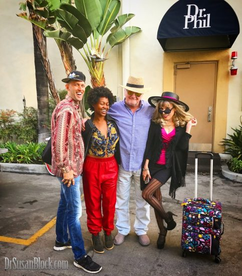 "Chef Be*Live, Daniele Watts, Capt'n Max & Dr. Suzy on their way into ""The Doctors"" produced by Dr. Phil at Paramount Studios."