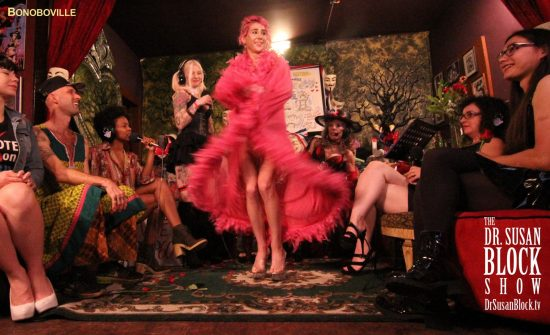 "Cate fluffs her Mae West robe to Carmina Formosa's ""The Kinkster"". Photo: Zane Bono"