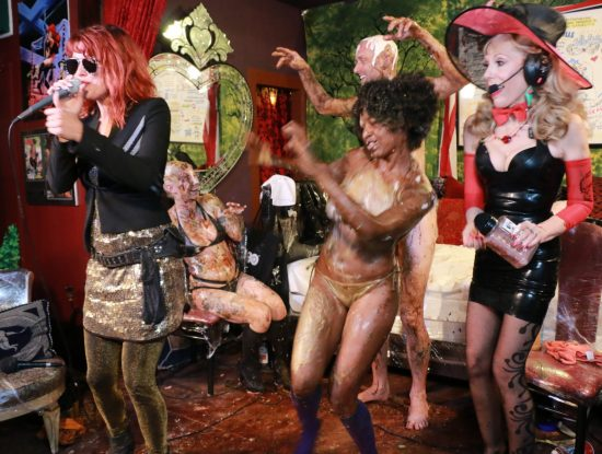 Jiin Christou & the Mud Pie Tribe on Bonoboville. Photo: Zane Bono