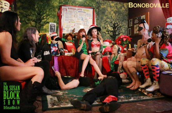 Smokey & Slave Winnie worship the Birthday Gal's toes. Photo Zane Bono