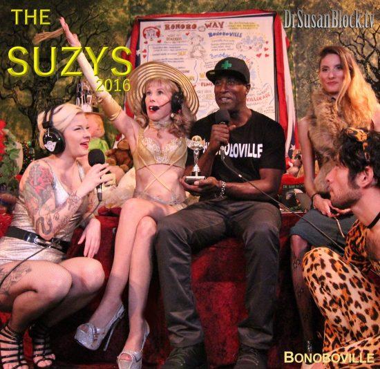"Ikkor the Wolf thanks ""God"" and Bonoboville for his SUZY award. Photo: Zane Bono"