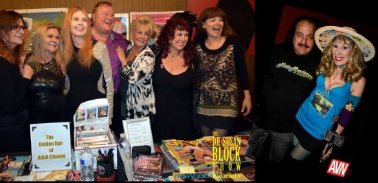Golden Age of Adult Cinema: Kelly Nichols, Ginger Lynn, Serena, David Bertolino, Rhonda Jo Petty, Annie Sprinkle, Veronica Hart. Photo: Jacquie Blu. Ron Jeremy & Dr. Suzy. Photo: Chris King