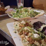 Burger, Caesar Salad & Mahi Mahi Tacos