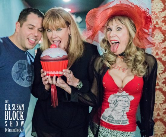 Getting in an oral mood with fabulous Adult Entertainment Icon Porsche Lynn and Cupcake Theater manager at Opening Night for The Golden Age of Adult Cinema. Photo: Jux Lii