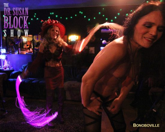 My Fiber-Optic Flogging lesson with Goddess Phoenix. Photo: Abe Bonobo