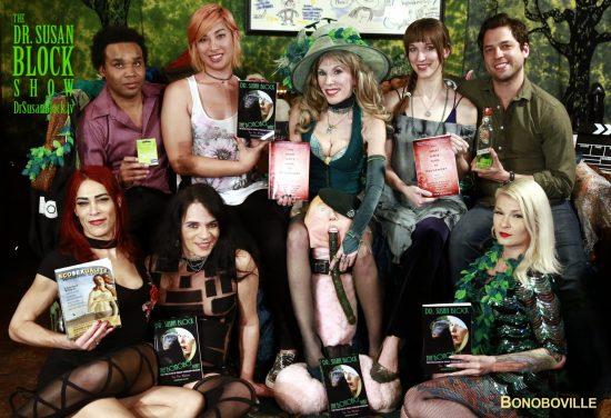 Todd Jones, Natalie Chen, Dr. Susan Block, Dedeker Winston, Jase Lindgren. Row 2: Kristen Kraves, Jacquie Blu, Trump Under Gag Order with a Green Dildo, Gypsy Bonobo. Photo: Time Nguyen