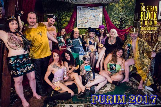 Dr. Suzy's Purim 2017 with Rhiannon Aarons as Vashti, Captain Jack Cannon as the Executioner, Sean as Haman gagging Trump, Madam Margherite, Ron Jeremy as Pimpin' Cousin Mordecai, Dr. Susan Block as the Narrator, Rachel Magenta as Queen Esther, Sheree Rose, Rick Fantana as King Ahasuerus. Row 2: Kristen Kraves & Jacqui Blu as the King's Eunuchs, Gypsy Bonobo, Karla Lane as Harem Girl. Photo: Jux Lii