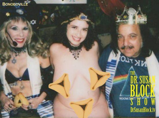 Hamantaschen Trinity of Bonoboville: Dr. Suzy, Queen Rhiannon & King Ron Jeremy. Polaroid: Sheree Rose