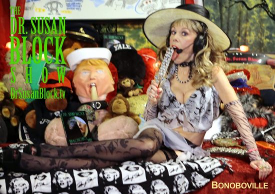 Starting the show with my Buck Angel glass sword and faux Nany Seal Trump gagged with a dildo. Photo B Natural