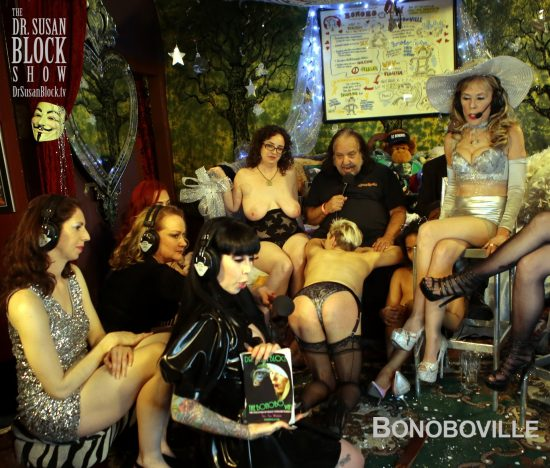 Mistress Porcelain prepares The Bonobo Way as Erikka assumes the position between Ron's legs. Photo: B Natural