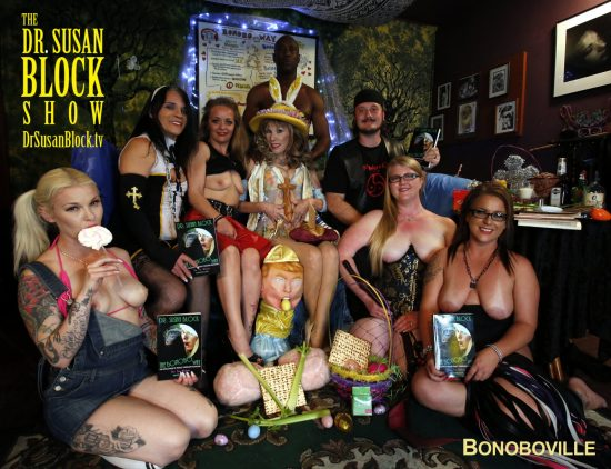 First Row: Gypsy Bonobo, Trump Sucks Eggs, Princess, Fire. Second Row: Jacquie Blu, Mistress Liz, The Irreverend Dr. Susan Block, Sir Pent. Third Row: Ikkor the Wolf. Photo: JoeyXLA
