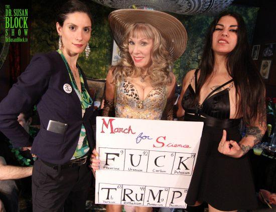 "FemDom Earth Day on DrSuzy-Tv with Madame Margherite & Mistress Eva Cruz. ""March for Scinece: Fuck Trump "" sign by Del Rey Bonobo. Photo: Abe Bonobo"