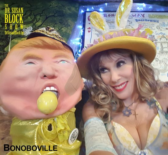 Forcing Trump to attend the Bonoboville Seder while gagged with an Easter egg. Photo: Selfie