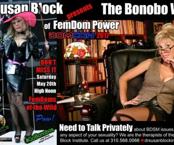 Bonobo Way Bound for DomCon LA THIS Saturday! Dr. Suzy's Masturbation Month Virtues in Elephant Journal & Mind Body Green! And if you need a hand, call us anytime: 213-291-9497 ✌
