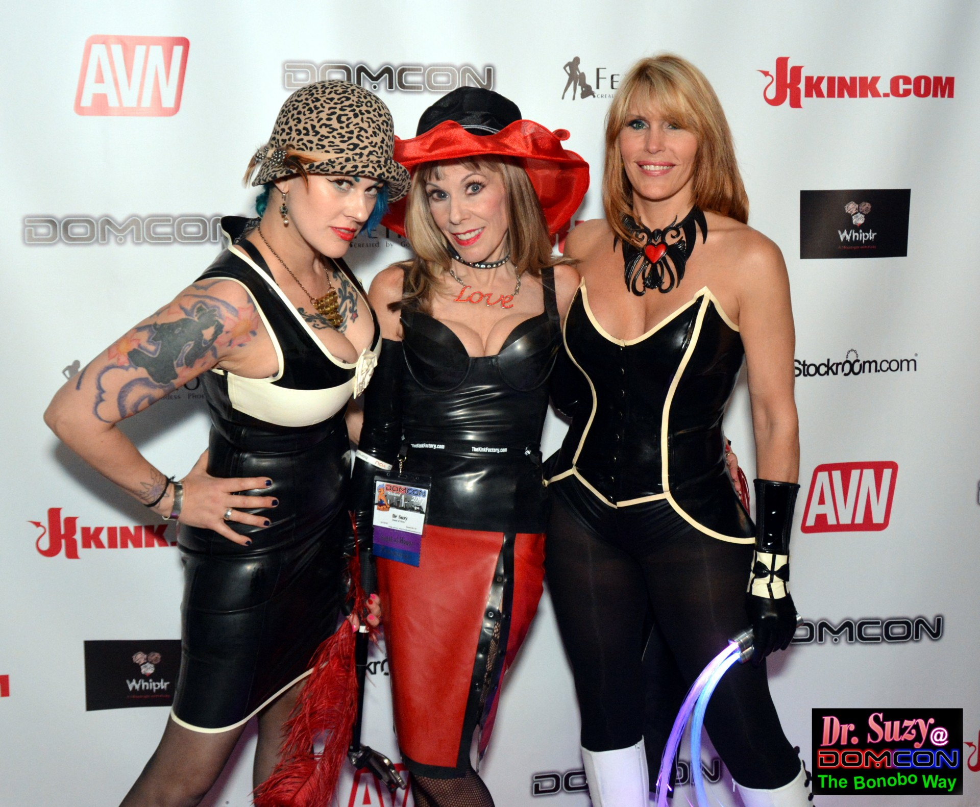 On the Red Carpet with two of the hottest Dommes at DomCon: Goddess Soma and Goddess Phoenix.  Photo: Hugo Flores
