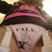 Faded Blue on Pink Vintage Yale Thong & Garters!