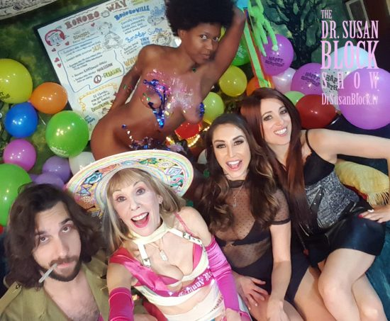 Daniele Watts, sploshed with birthday cake and streamers, makes a beautiful photo bombshell. Photo: Selfie