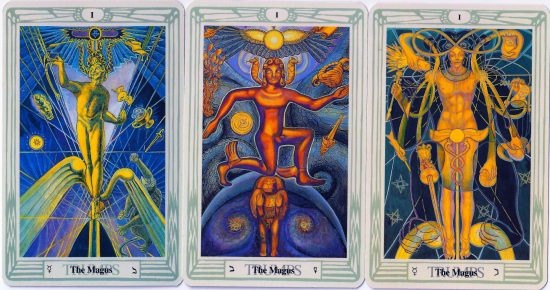 Frieda Harris' three depictions of the Magus. Aleister Crowley went with the first one.